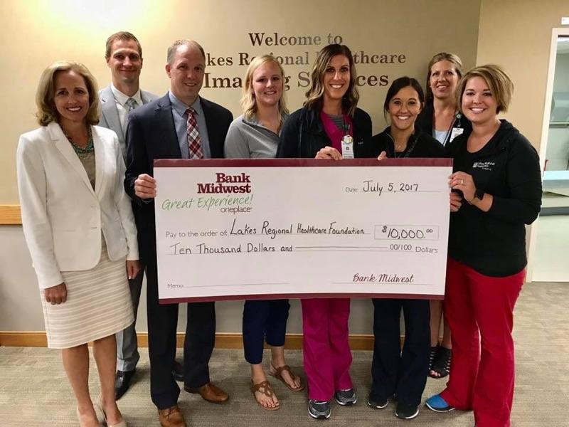 Bank Midwest Donation To Lakes Regional Healthcare Foundation