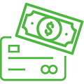 Icon of credit card with dollar bill over corner